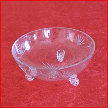 Glasskål på ben fra loppemarked