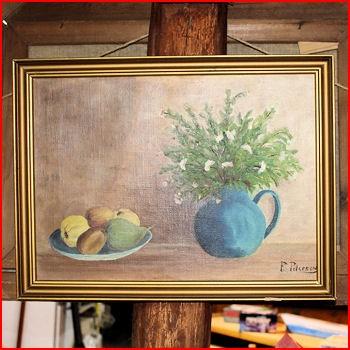 Maleri vase m/ blomster