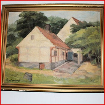 Maleri m/gammel hus