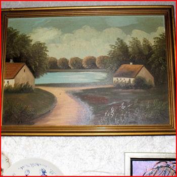 Maleri huse m/ vand udsigt