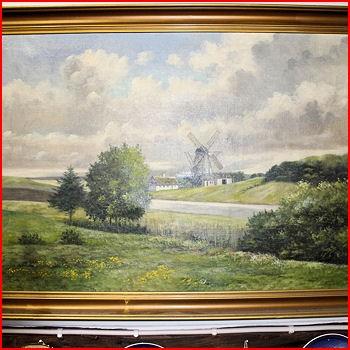 Maleri landskab m/ mølle