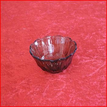 Mørk glasskål fra loppemarked