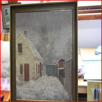 Maleri m gammelt Hus